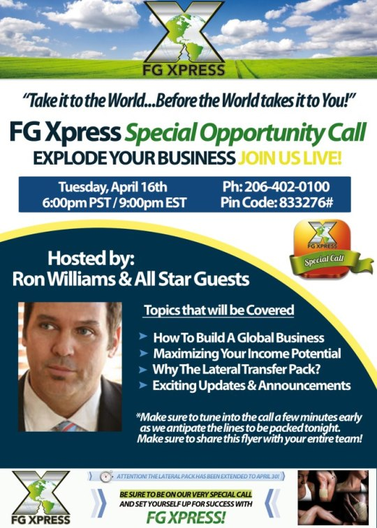 Opportunity call tonight!